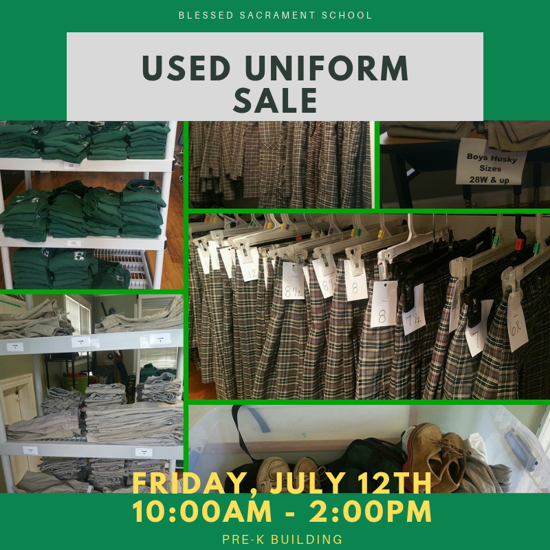 School starts soon...time to stock up on uniforms for the new year!  Used Uniform Sale, THIS FRIDAY, July 12th from 10am - 2pm, PreK Building.