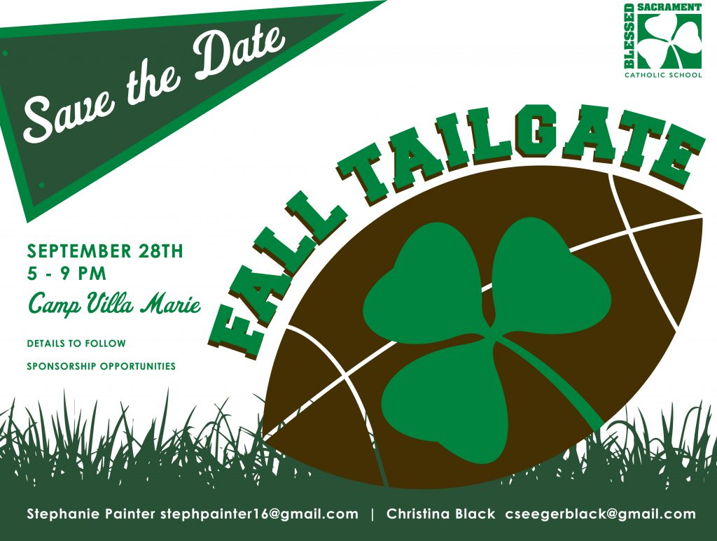 Save the date:  Fall Tailgate, Sept. 28th, 5-9, Camp Villa Marie