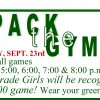 HELP US Pack the Gym! Monday, Sept. 23rd