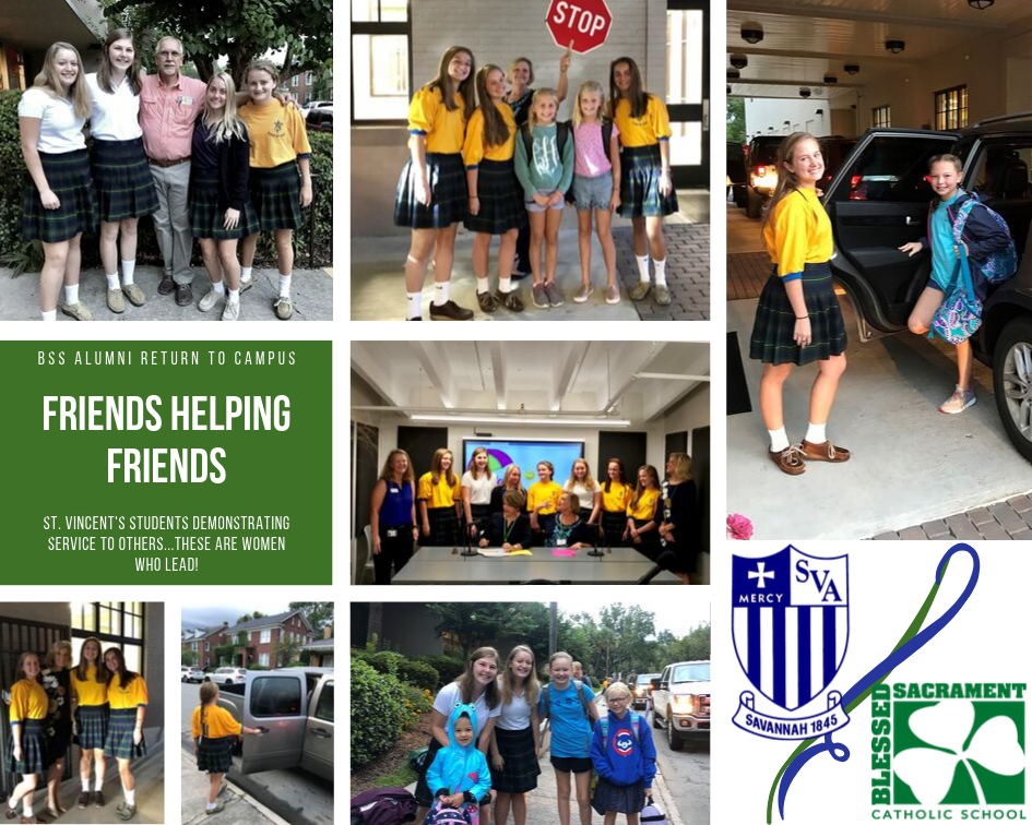 Friends helping friends!  SVA students (BSS alumni) visit the BSS campus and demonstrate service to others and service to our community.