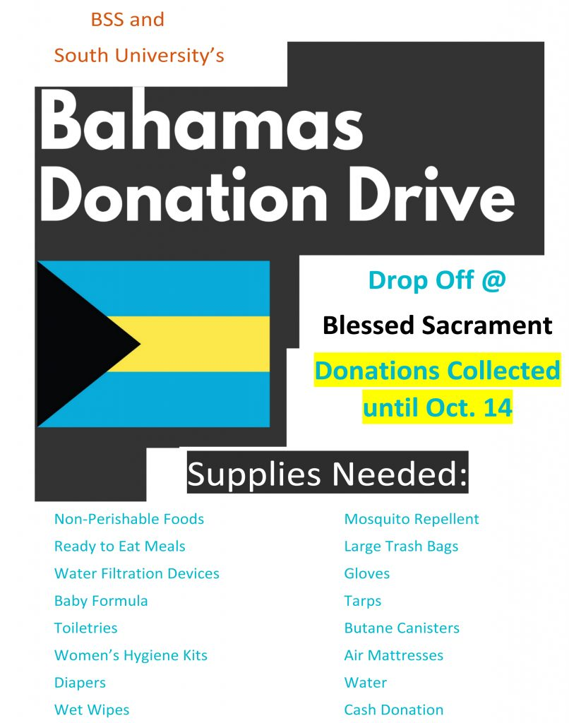 Bahamas Donation Drive.   Items being accepted through October 14th