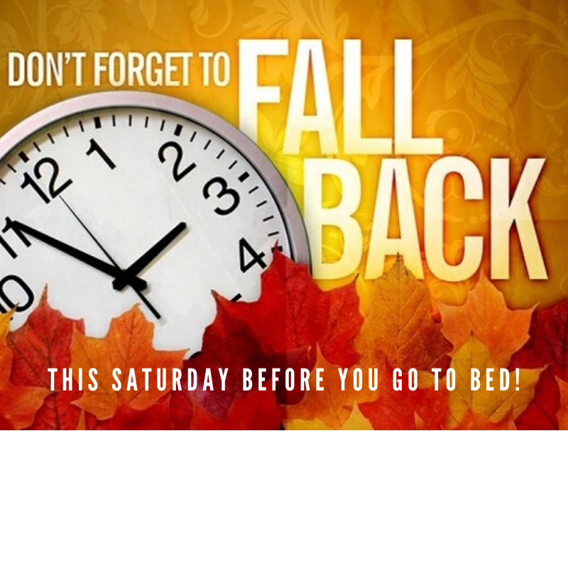 Don't forget to turn your clock back this weekend!