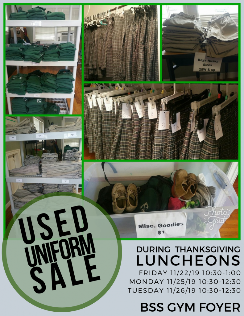 Stop by the Gym (before or after) your Thanksgiving luncheon.  Stock up on your uniform needs now.