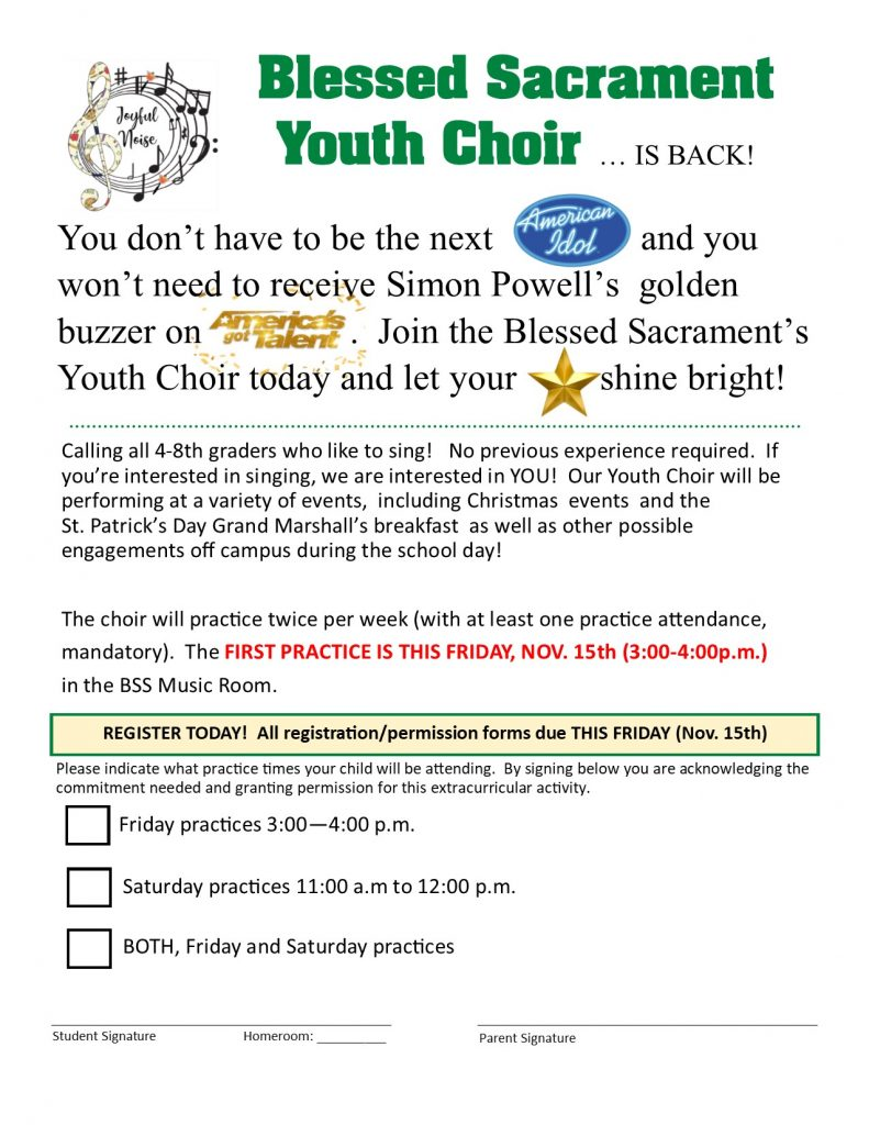 JOIN the Blessed Sacrament Youth Choir today and let your star shine bright!  Open to grades 4-8.