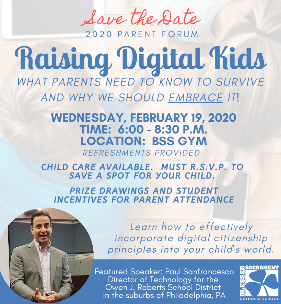 Join us February 19th in welcoming speaker, Paul Sanfrancesco, as we discuss digital citizenship and the culture of today! Refreshments provided. Child care available
