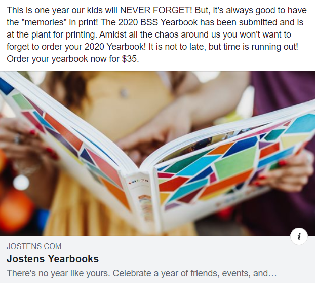 A year we will never forget!  Buy your 2020 Yearbook TODAY!