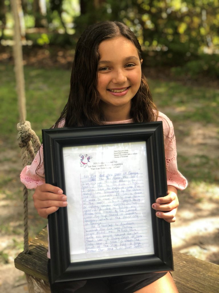 "CONGRATULATIONS to J. Redmond (4-Sp) who placed 3rd in the fourth grade division of the Georgia National Fair's ""Fair Bear"" Creative Writing Contest."