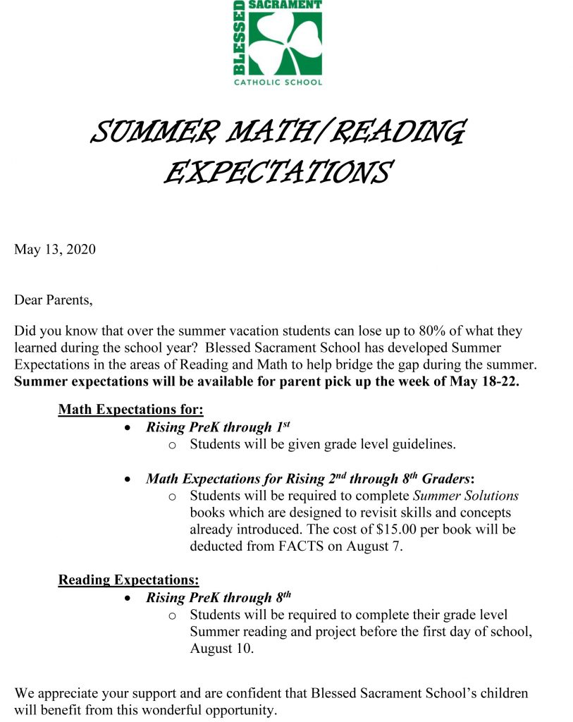 Please be reminded that we hope to keep our students inspired with the learning process by keeping their brains active!  Below is a copy of the letter sent to parents last month as well as the summer expectations by grade level.   Please email or call the school office if you have any questions.  (aswanger@bss-savannah.org).