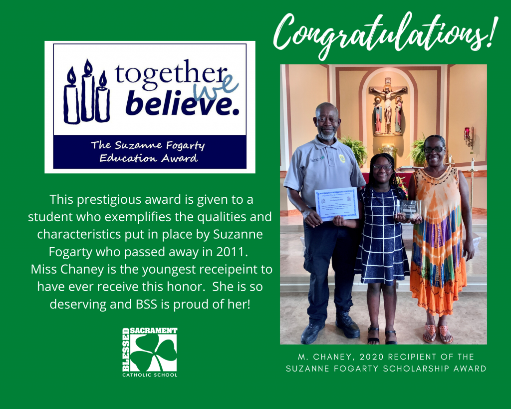 Congratulations to M. Chaney, winner of the 2020 Suzanne Fogarty Scholarship Award.  M. Chaney is the youngest recipient to have ever receive this honor!