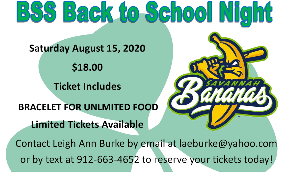 ALMOST SOLD OUT! Get your Back-to-School Savannah Bananas tickets NOW before it's too late! Email: laeburke@yahoo.com to reserve your spot today.
