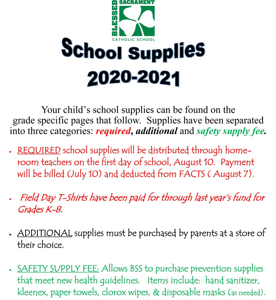 It's that time!  Time to start planning ahead for the 2020-2021 School Year.   Below are school supply lists, by grade.  Happy shopping!