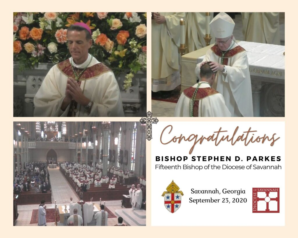 Congratulations to the 15th Bishop of the Diocese of Savannah, Stephen D. Parkes.   His Ordination and installation took place today, Sept. 23rd, at the Cathedral of St. John the Baptist in Savannah, Georgia