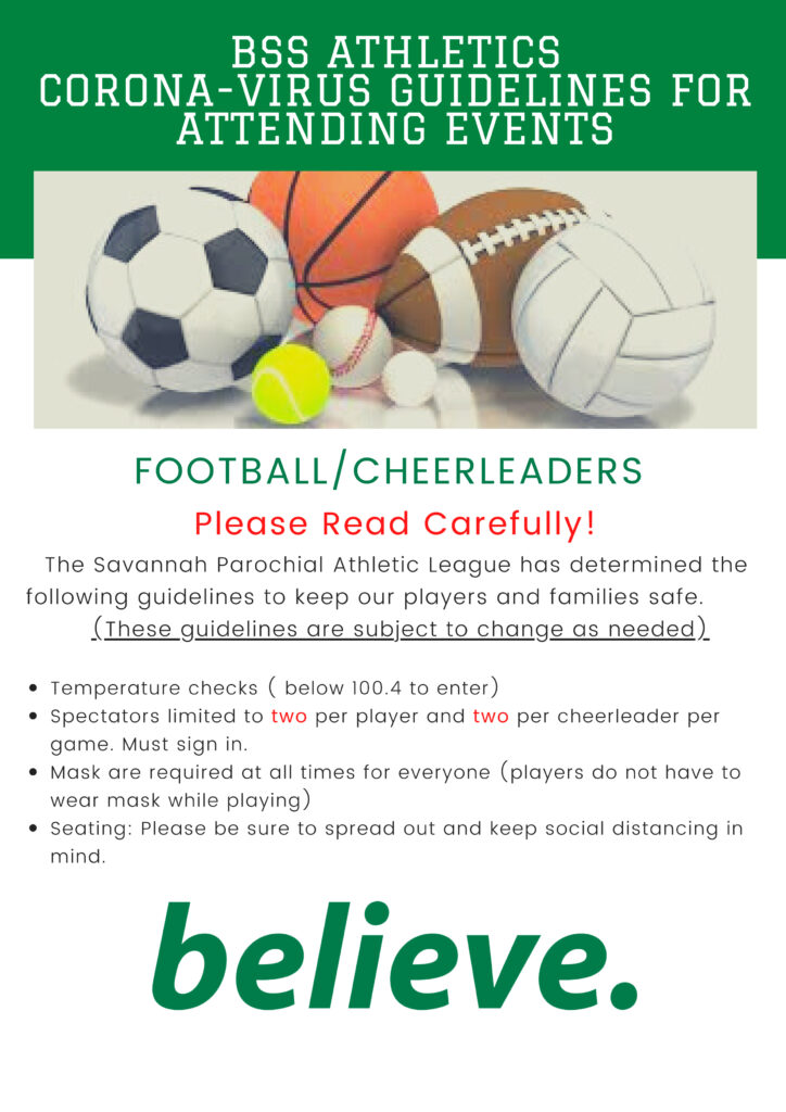 SPAL Covid Guidelines for football and cheer-leading are now confirmed.  Please note these guidelines are subject to change, as needed.  If you have any questions please call the office at 912-356-6987.