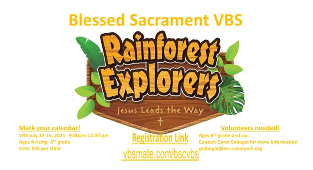 VBS July 12-16.  Seeking volunteers and participants!